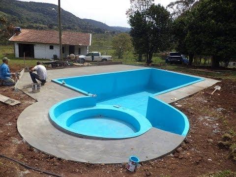 Reforma ch cara e constru ao piscina youtube for Piscinas semienterradas