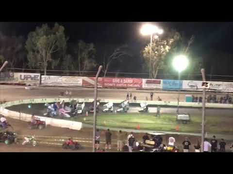 Bakersfield Speedway Outlaw Kart A-main Wreck 8-10-19. - dirt track racing video image