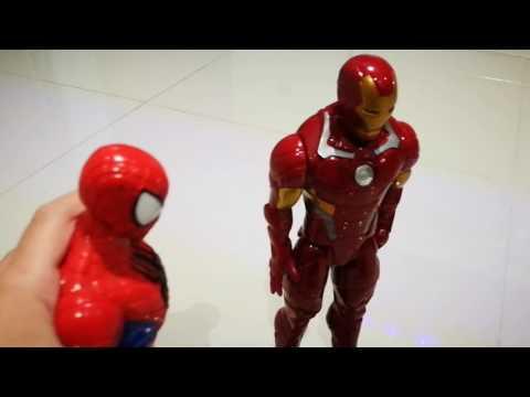 Spiderman iron man vs dinosaur