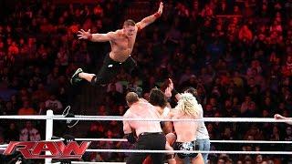vuclip John Cena, Ryback & Dolph Ziggler vs. Seth Rollins, Kane & Luke Harper: Raw, December 1, 2014