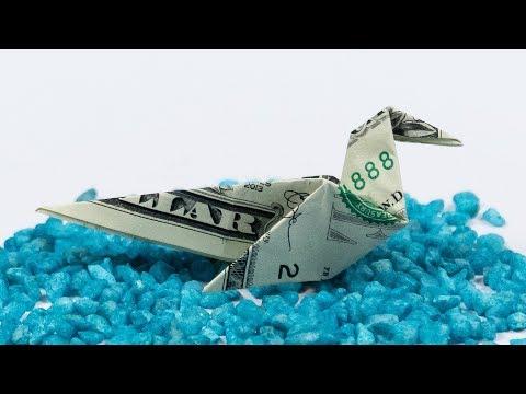 Money Origami Bird 🦜 Dollar Duck Folding Tutorial