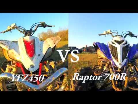 ATV Drag Race Yfz 450 vs Raptor 700