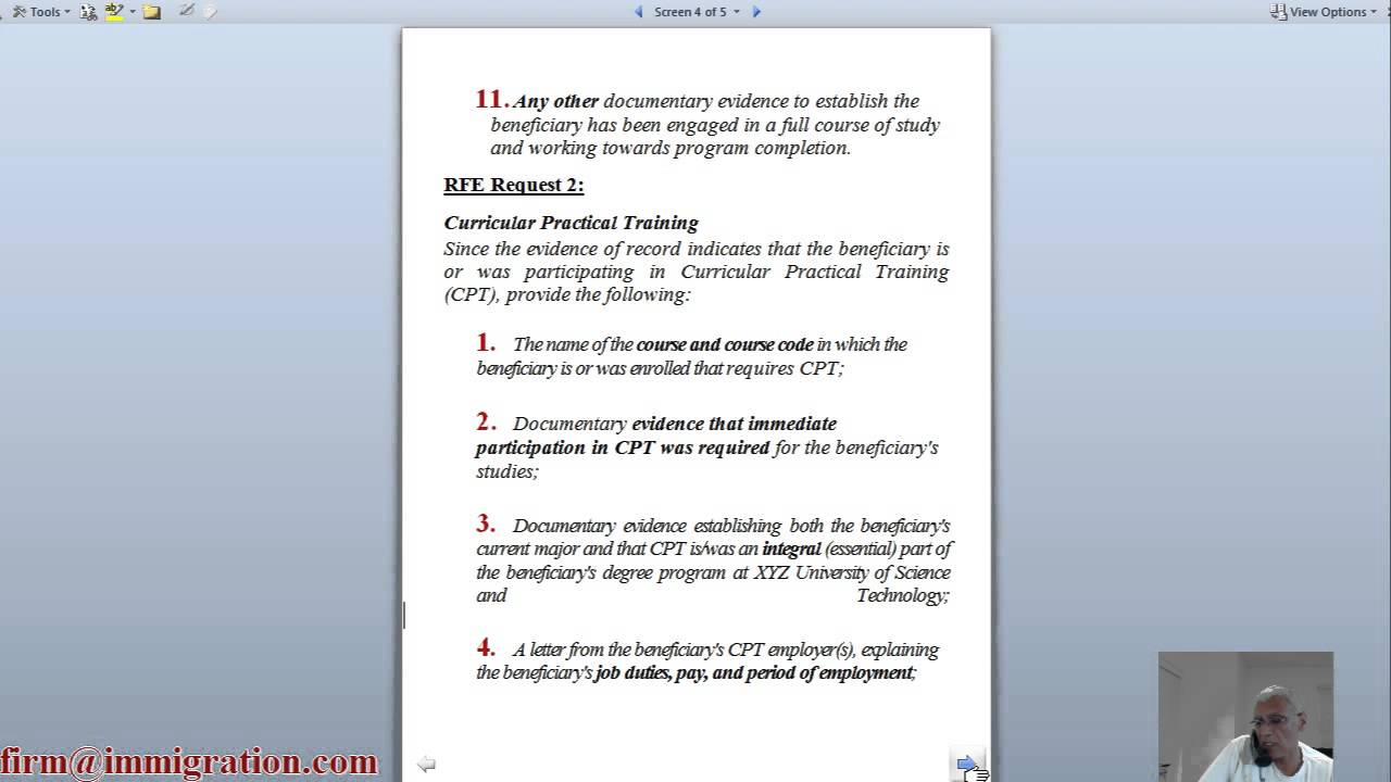 CPT OPT Issues (including Change of Status RFE), 20 November 2015 by Rajiv  S  Khanna