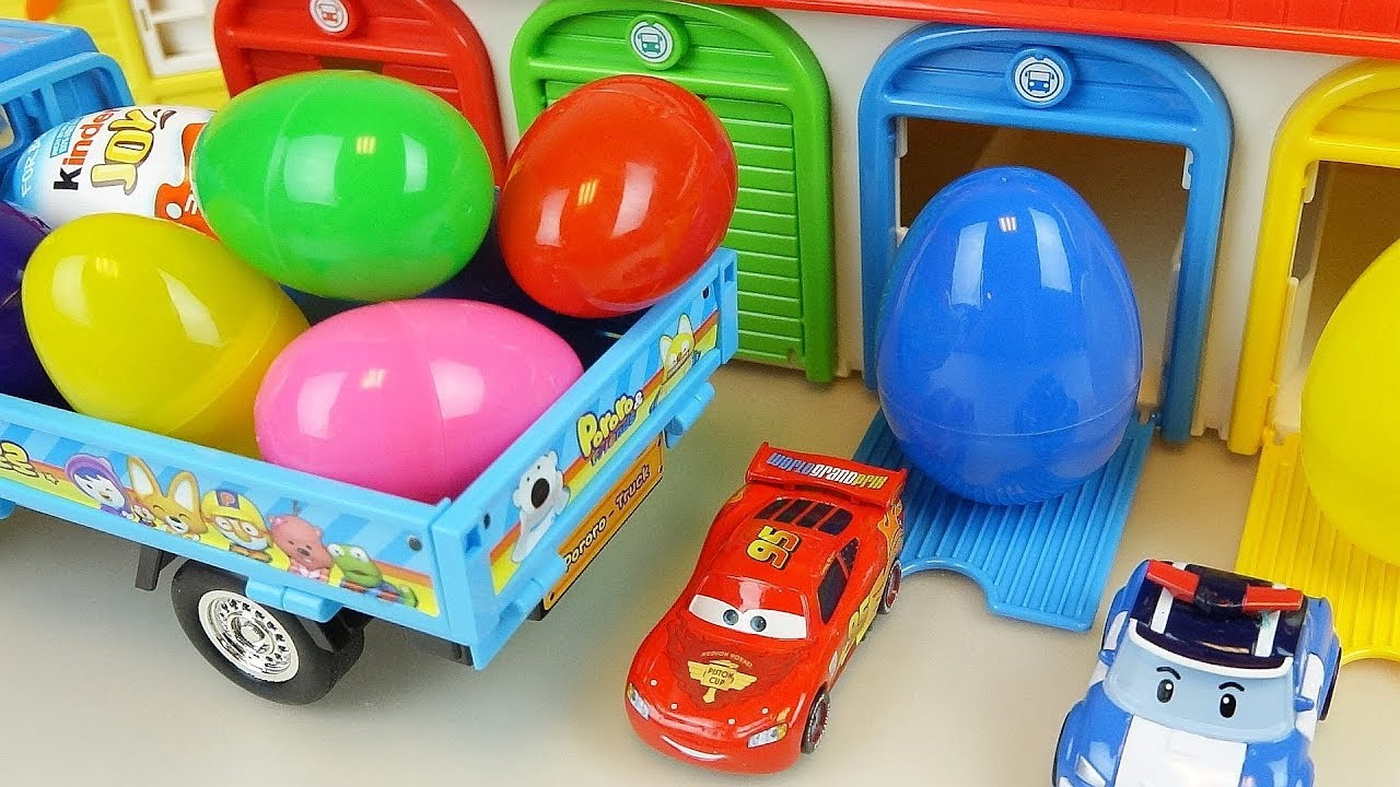 Car toys surprise eggs truck cars and Poli play