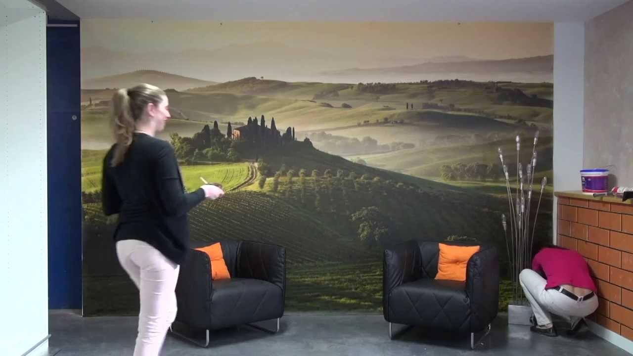 pose de la toile textile panoramique monobloc punaiser. Black Bedroom Furniture Sets. Home Design Ideas
