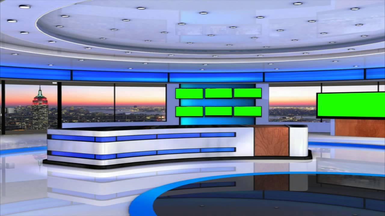 News Studio In Green Screen Free Best Footage