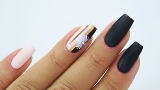 Elegance black mat and Little Daisy nails art Tutorial step by step/Colours by Molly #blackmattnails