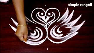 creative swan lamp rangoli designs || simple modern kolam with 5x3 dots || easy muggulu patterns