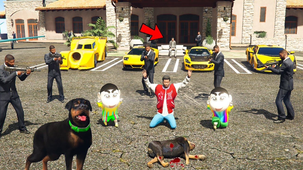 GTA 5: Shinchan & Pinchan STEALING GOLD SUPERCARS FROM MAFIA AND SAVE CHOP! (GTA 5 mods)