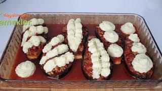 Patlıcanları Yağda Kızartmaya Son.! Böylesi Daha Lezzetli  Etli Patates Püreli Karnıyarık