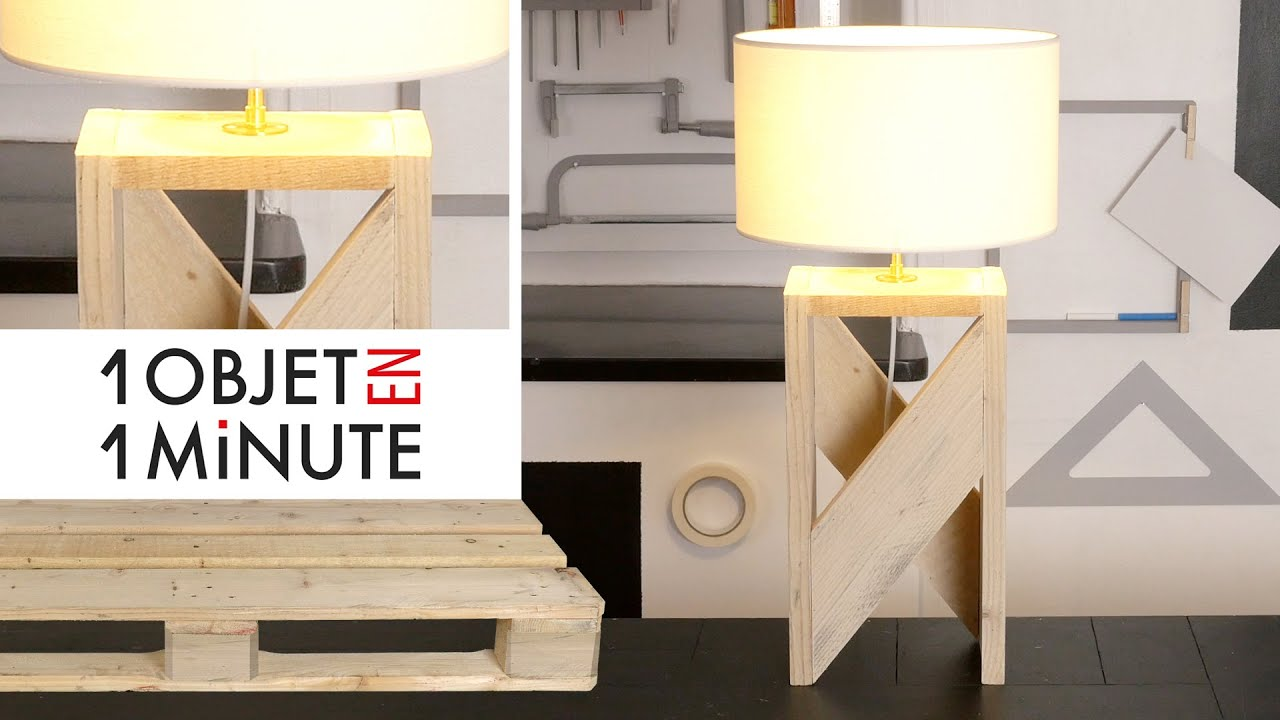 1 objet en 1 minute episode 2 id e d co fabrique une lampe design avec une palette youtube. Black Bedroom Furniture Sets. Home Design Ideas