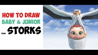 How to Draw the Baby and Junior from Storks the Movie Easy Step by Step Drawing Tutorial
