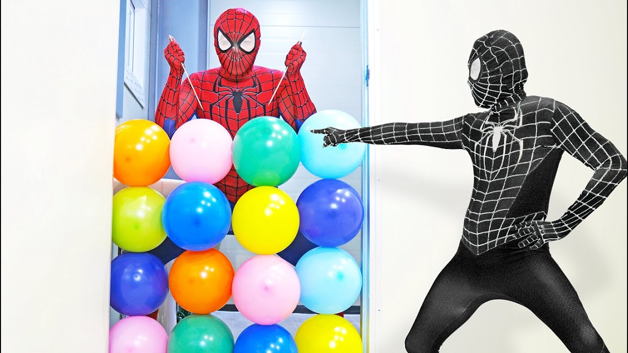 Spider Man Popping Balloons and Trick Shots!