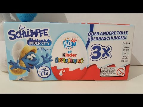 Unboxing 3 Smurf Kinder Surprise eggs