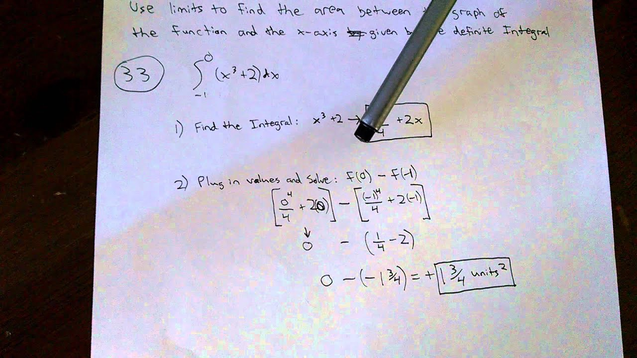 125  Evaluate Area Under A Curve Between Two Points, Definite Integral