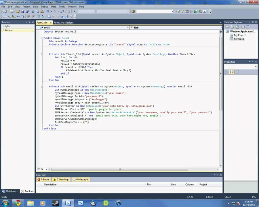 how to make a keylogger in visual basic