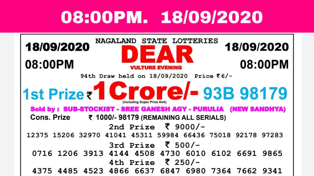🔴Lottery Sambad Result Live 08.00pm 18.09.20 Nagaland State Lottery Live gdn
