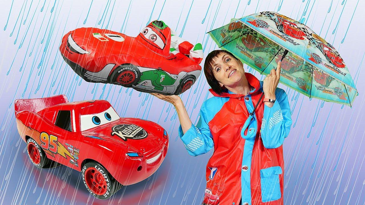 Машинки из мультика ТАЧКИ и Маша Капуки - Маквин и Франческо под дождем. Мультфильм из игрушек