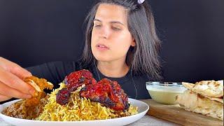INDIAN FOOD   CHICKEN CURRY, TANDOORI, BIRYANI, RAITA & NAAN   MUKBANG   ASMR   EATING SOUNDS