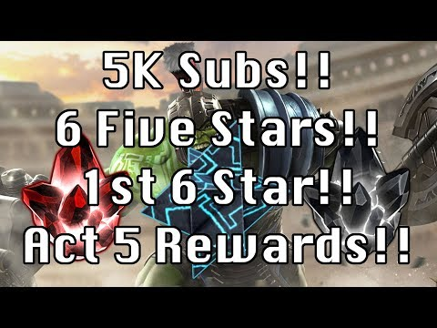 5K  Subscriber Special/1st 6 Star/Act 5 Rewards!!! Live Stream Marvel Contest of Champions!