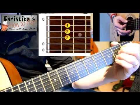 Gitarre lernen: Die ersten drei Akkorde (E A D) und ein einfaches Lied. Gitarre online lernen