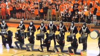 2013 Brighton High School Drum Line Pep Rally Performance