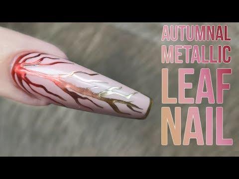 Autumnal Metallic Leaf Design - Magic Ombre Effect