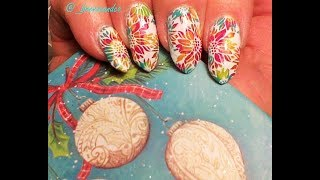 EASY CHRISTMAS  NAIL ART/POINSETTAS/STAMPED TUTORIAL