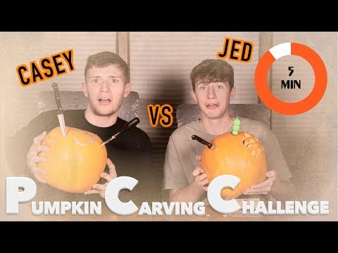 SIBLING CHALLENGE! 5 MINUTE PUMPKIN CARVING VS JED!!
