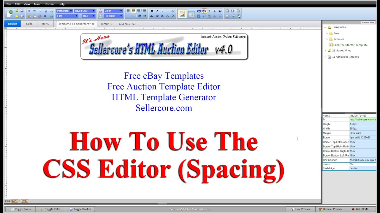 How To Edit CSS Spacing When Generating Free EBay Templates YouTube - Ebay html template generator