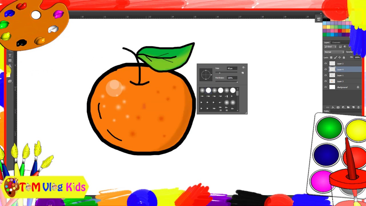 Drawing-Coloring fruits|Orange-Watermelon-Strawberry|Vẽ,Tô màu-Cam-Dưa Hấu-Dâu Tây|TOM Vlog Kids