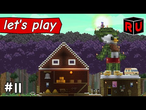 Giant Hot Dude Ranch Statue! | Let's play Starbound Asteroid Base ep 11