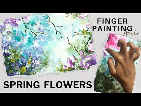 Summer Blossom Finger Painting Tutorial | Debslilarts