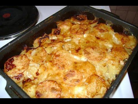 картошка в духовке с мясом на протвине
