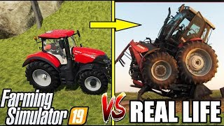 REAL LIFE vs FARMING SIMULATOR : TRACTOR FAILS
