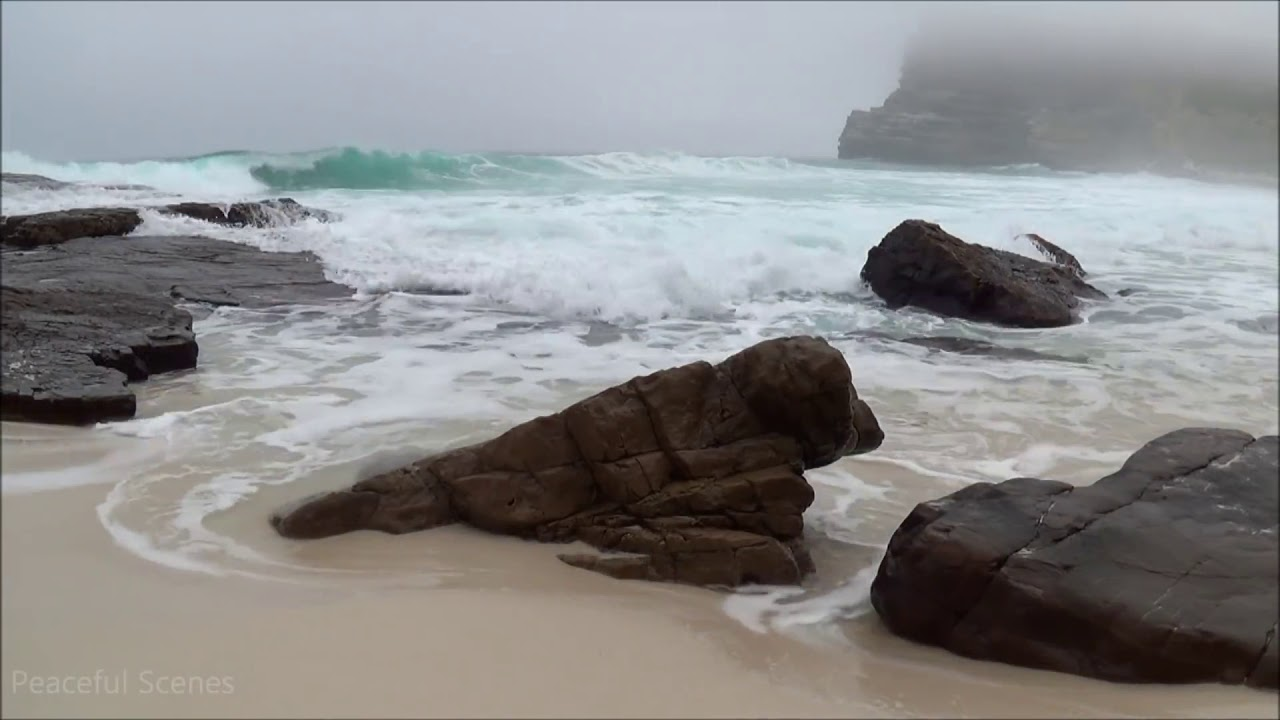 30 min relaxing ocean waves   high quality sound   no music   HD video of a beautiful misty beach