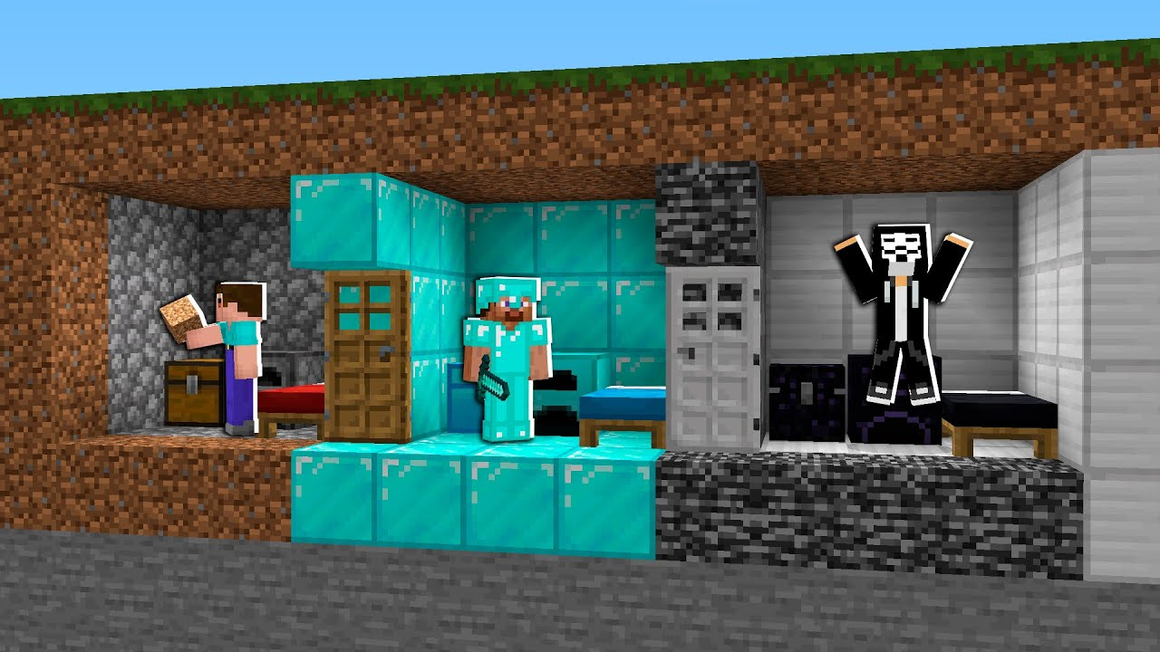 Base Minecraft Noob vs Pro vs Hacker