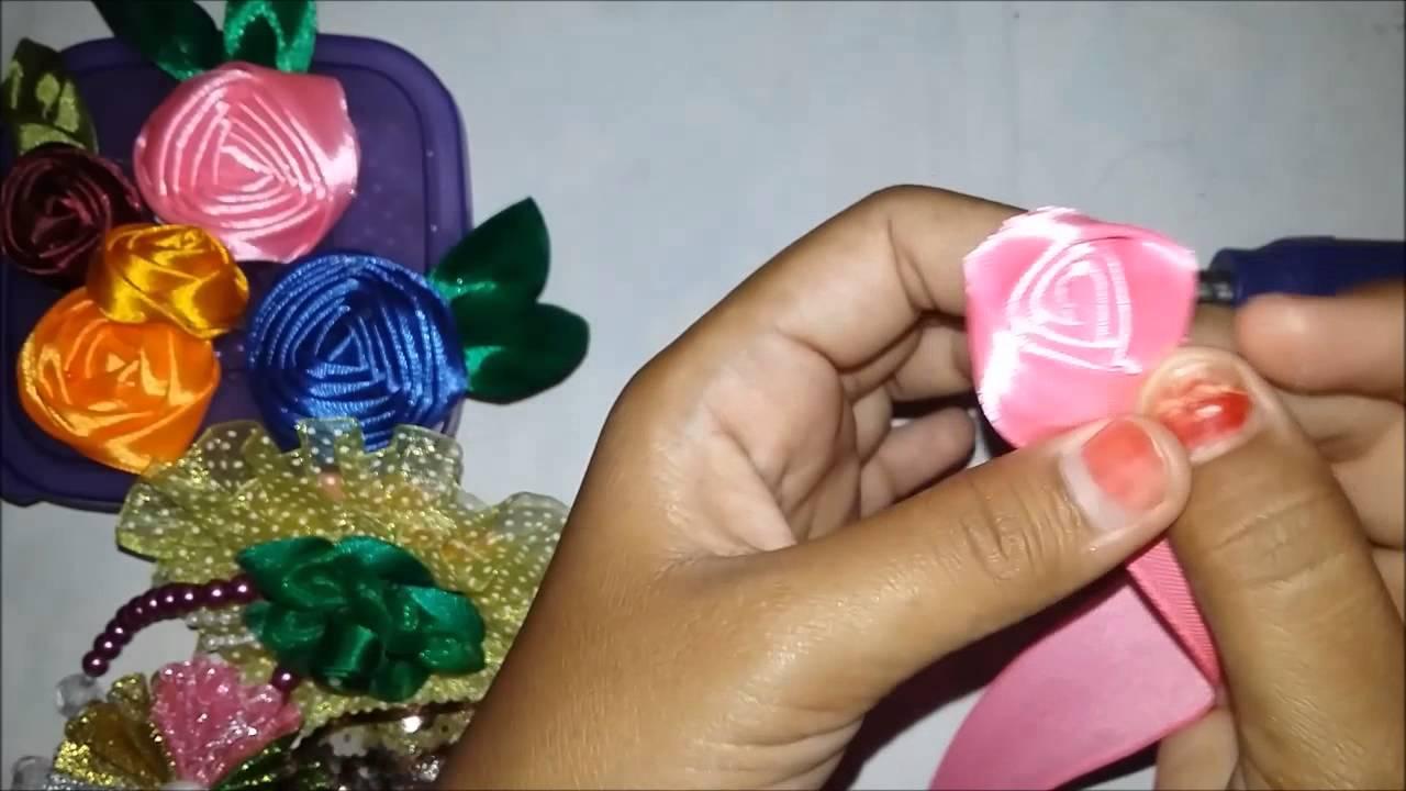 cara membuat bunga dari pita   tutorial membuat bunga