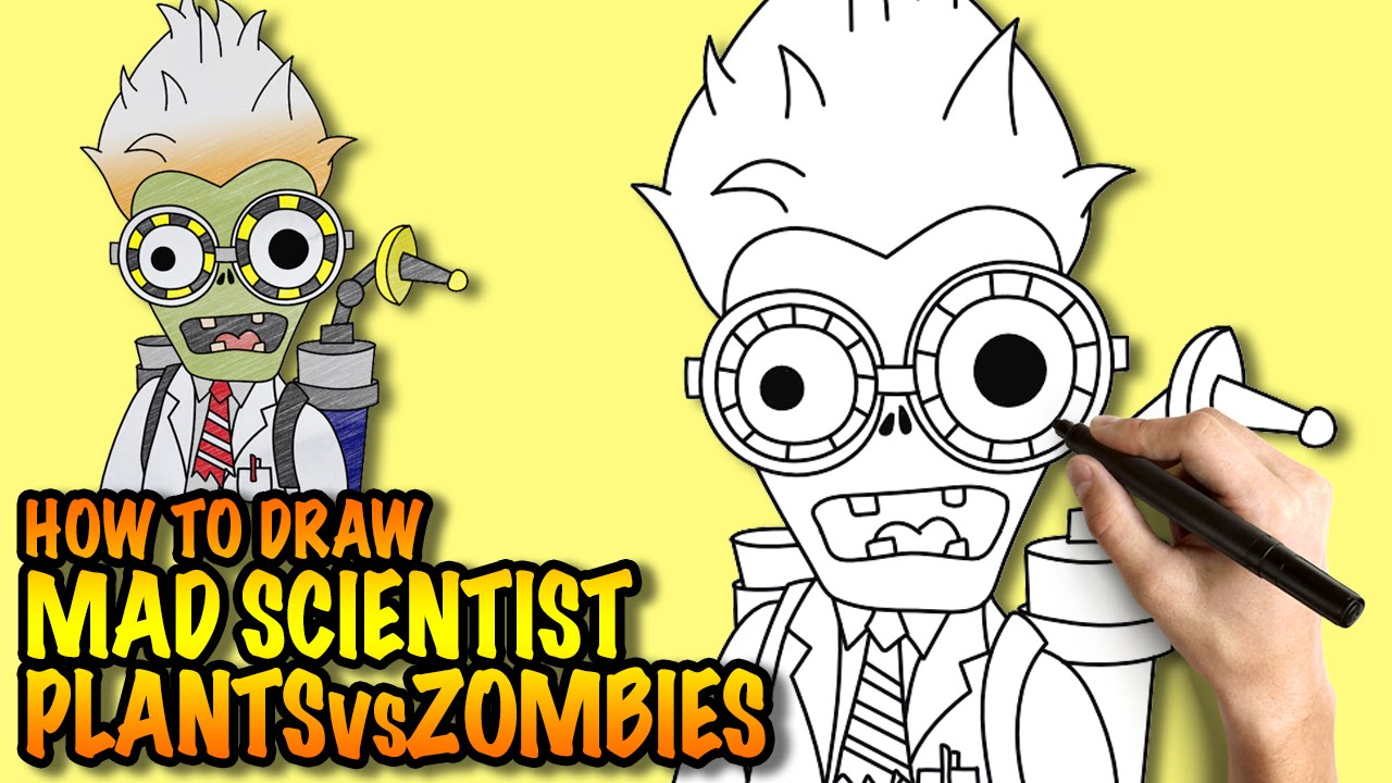Como Dibujar A Un Pomelo De Pvz: How To Draw Mad Scientist