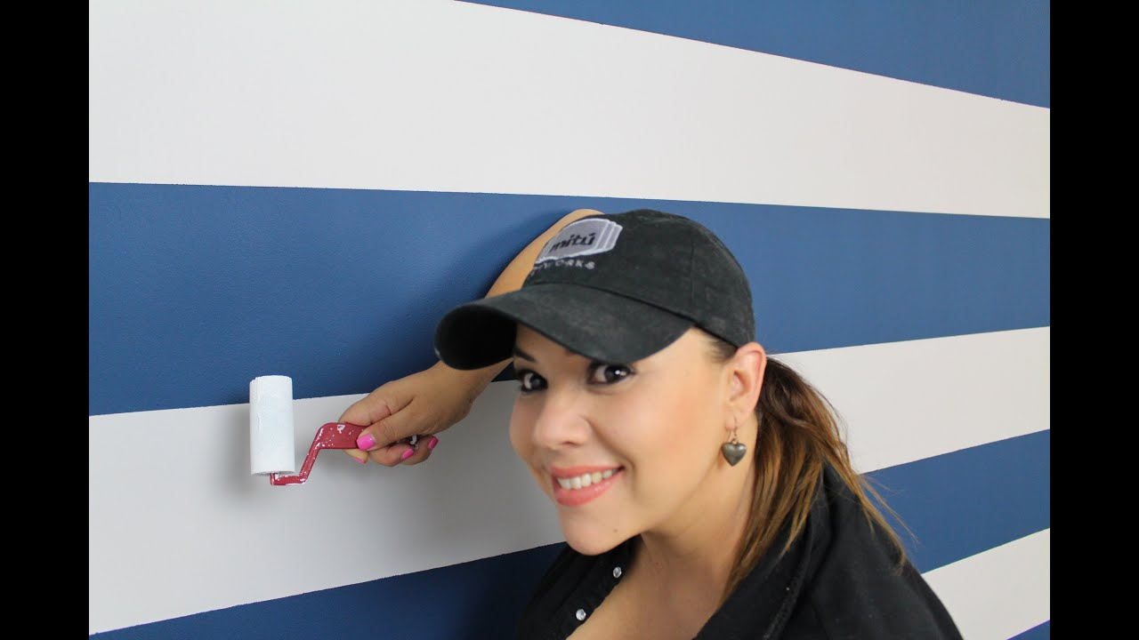 Como pintar rayas en la pared how to paint stripes on - Sofa gris como pintar las paredes ...