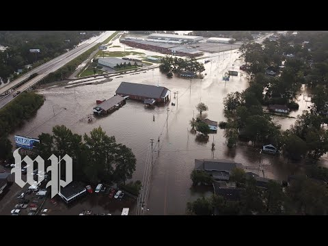 Drone video shows streets underwater in Lumberton, N.C.