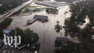 Drone video shows streets underwater in Lumberton, N.C.