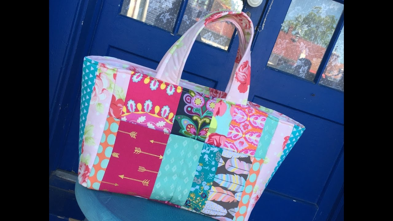 7e02b6386a How to Sew A Patchwork Tote Bag Sewing Tutorial and Giveaway - YouTube