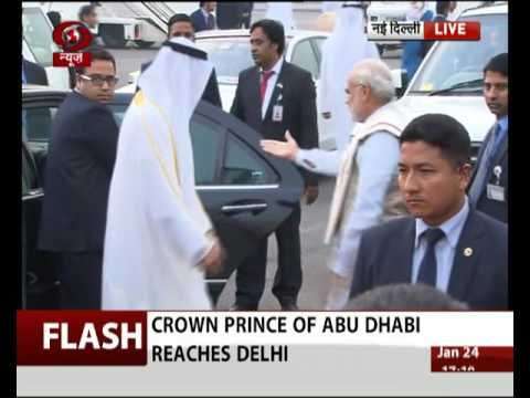 Prime Minister receives Crown Prince of Abu Dhabi at Delhi airport