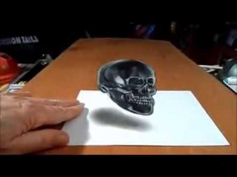 Tutorial Trik Menggambar 3D Tengkorak 3D - YouTube