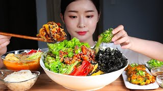 ASMR Recipe Included) Spicy Bibimbap, Cold Soup, and Pancakes made with Fresh Sea Pineapple * Mukbang Eating Show #멍게비빔밥 #물회 #비빔밥 문의 ...