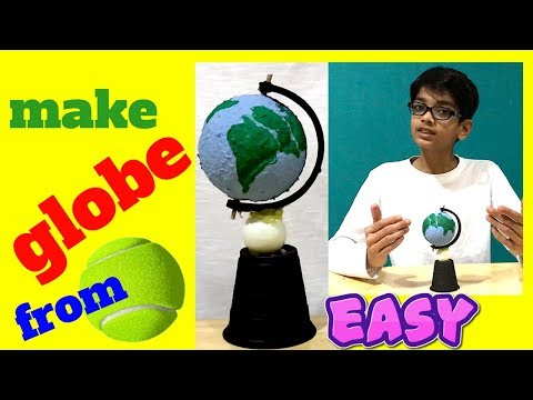 How to make globe with ball for school project easy making for kids rotating earth model diy
