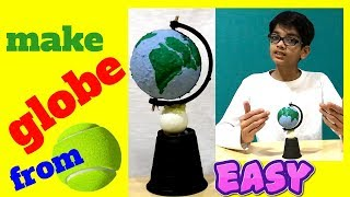 How to make globe with ball for school project easy making with bal...
