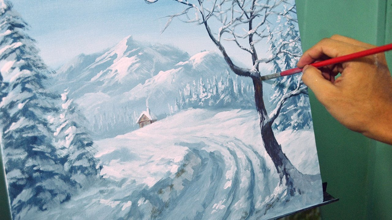 acrylic landscape painting lesson winter landscape by jm. Black Bedroom Furniture Sets. Home Design Ideas
