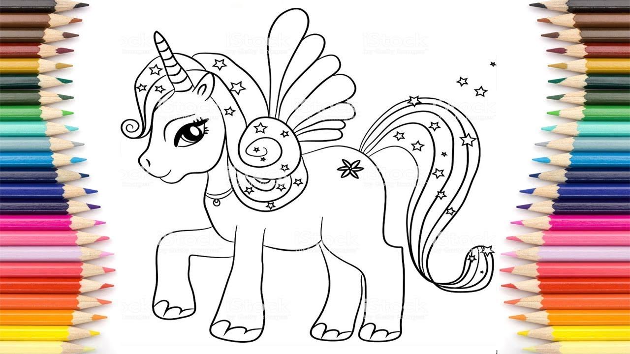 تعلم كيف رسم و تلوين يونيكورن حصان أحادي القرن للاطفال العاب